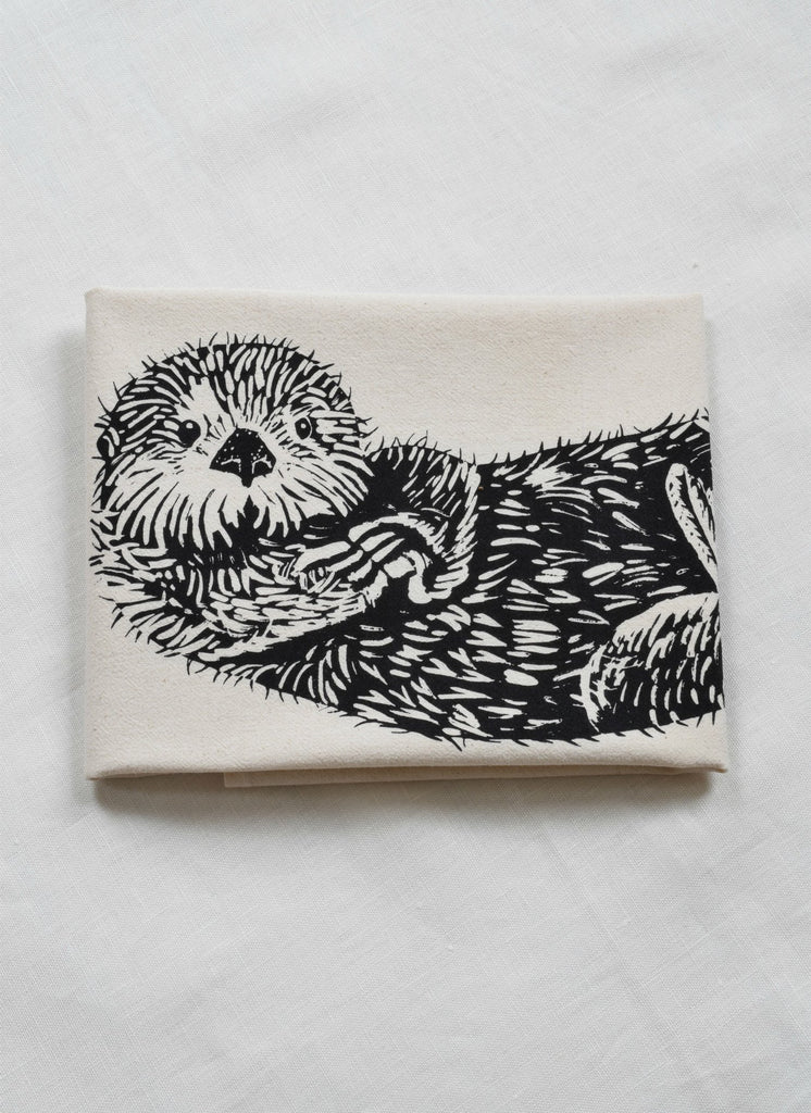 Otter Tea Towel - Black