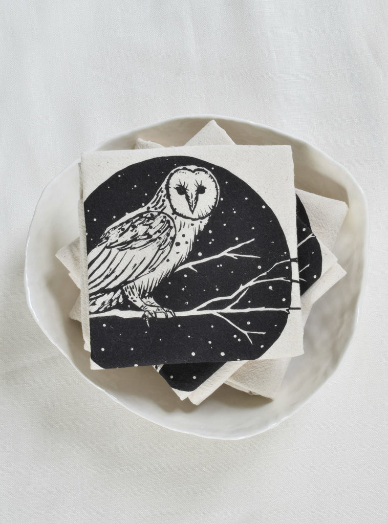 Organic Barn Owl Cloth Napkins Set of 4 - Black
