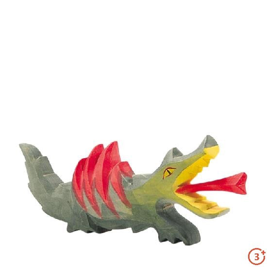 medium olive green dragon with bright yellow accents and mouth. Tongue and wings in bright red.