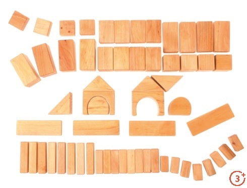 Geometric Classic Building Blocks Natural - 60 piece