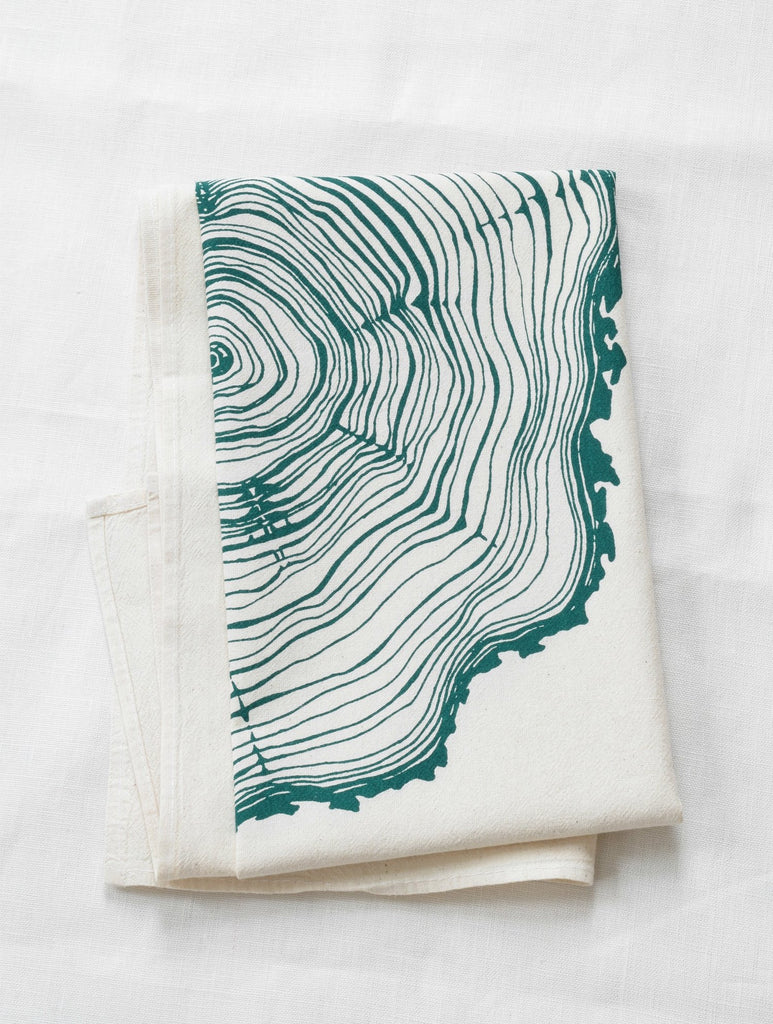 Organic Tree Ring Cloth Napkins Set of 4 - Green