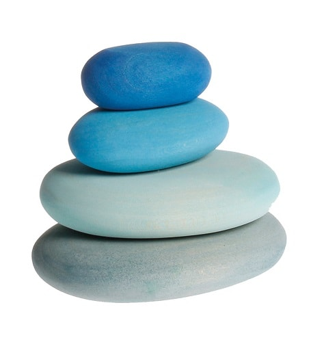 Grimms River Pebbles - Light Steel Blue (Largest), Light Blue, Medium Blue, Dark Blue (Smallest)