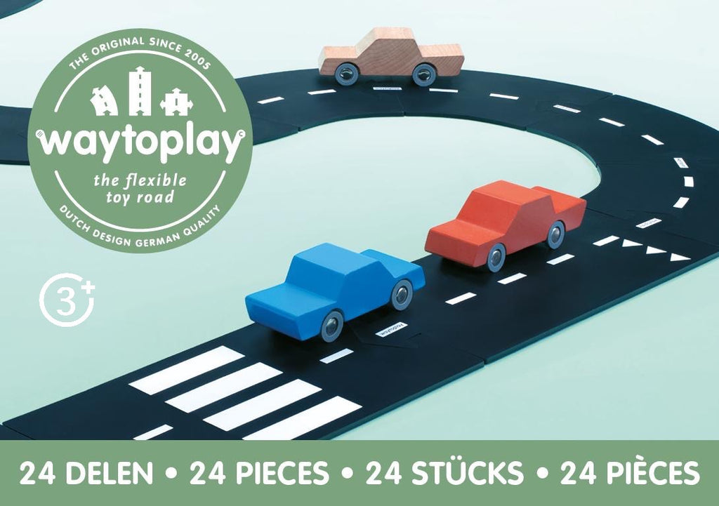 way to play road 24 piece set - pictured three wooden toy cars on way to play rubber roads stopped at cross walk