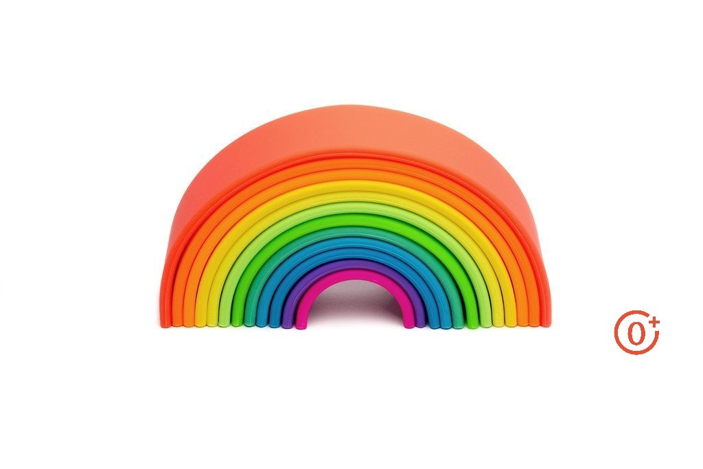 large silicone rainbow with 12 pieces ranging in neon shades from red to pink