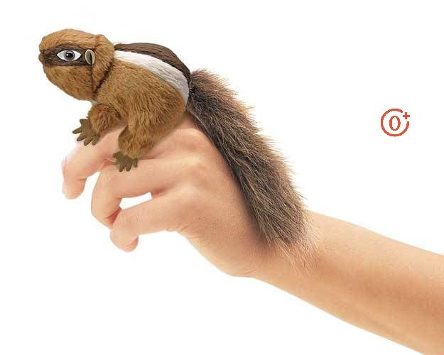 folkmanis mini chipmunk finger puppet has a stripe on his back and bushy tail his eyes have dark brown masking around them with a medium brown coat