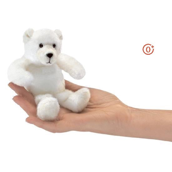 palm sized mini polar bear in a bright white colour with high contrast dark eyes and nose features
