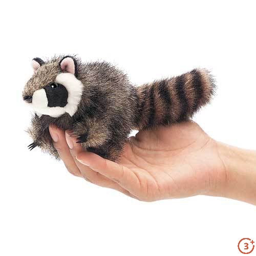 palm sized folkmanis racoon finger puppet with realistic colouring