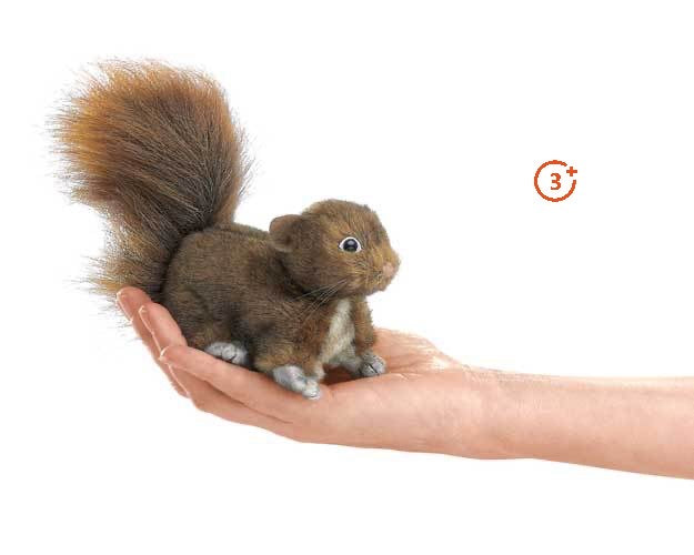 red brown squirrel mini finger puppet with bushy tail and white chest