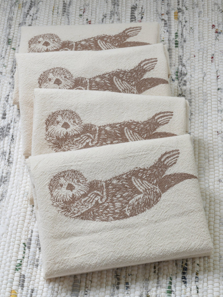 Organic Otter Cloth Napkins Set of 4 - Mocha Brown