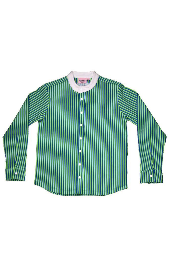Blue Green Striped Button Up Shirt