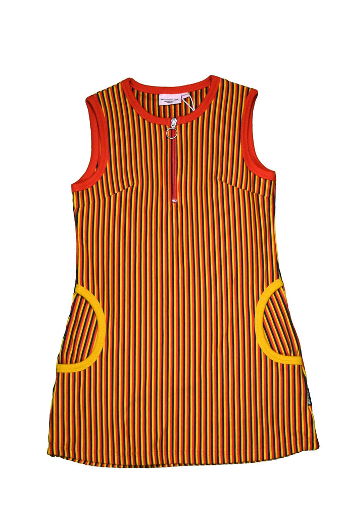 Black Red Yellow Striped Twiggy Dress