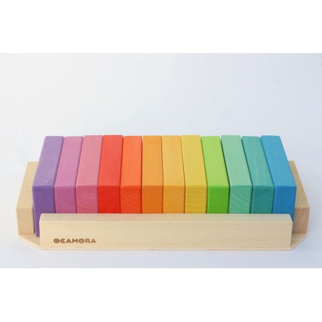 OCAMORA tablet block set in full rainbow colour spectrum in natural wooden frame