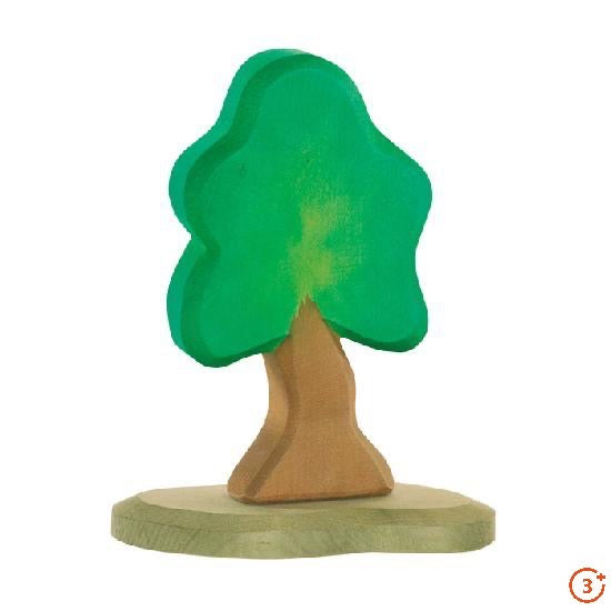 Bright medium green deciduous oak wooden tree carving. Light brown trunk on light olive base for support.
