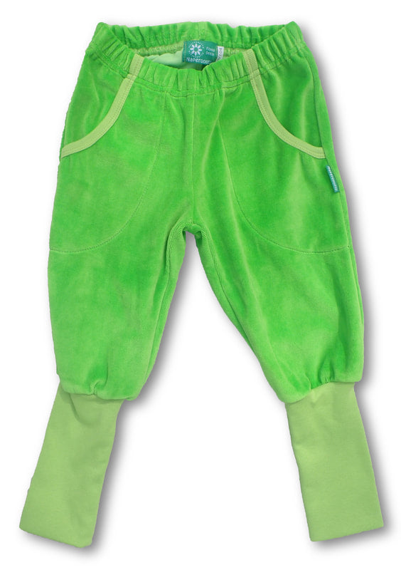 Green Velour Pants with Long Rib