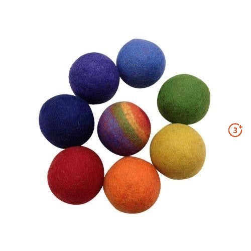 Rainbow Felted Wool Balls - 8 pieces