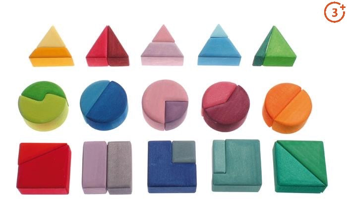 30 pieces of triangle, circle and square, cut into different fractions and all shades of the bright rainbow