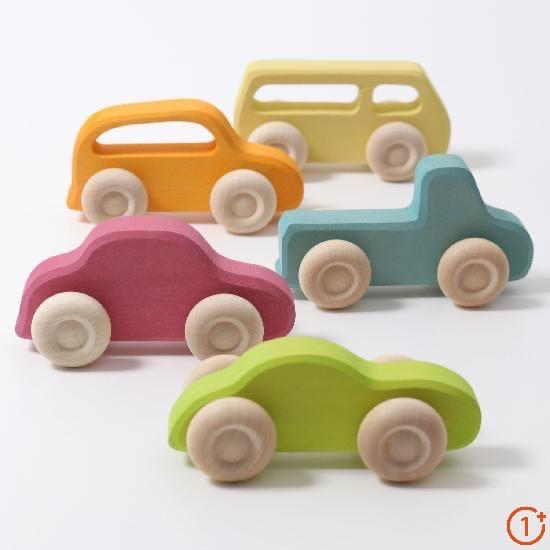 slime line cars 5 pack - yellow bus, orange wagon car, blue truck, pink car, and green sports car