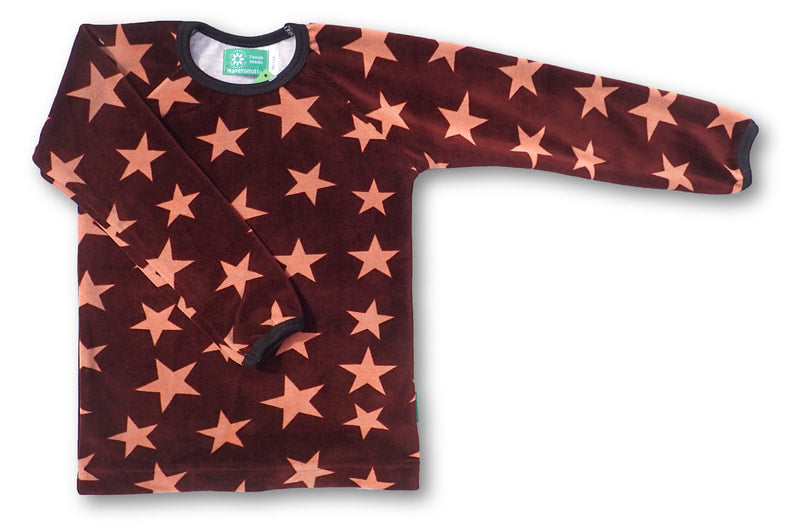 Brown Star Velour Long Sleeve Shirt - 2 Left Size 1-2 years