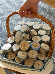 Basket of candle wedding favors