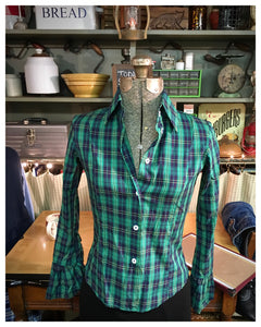 Green Plaid Long Sleeve Button Up Size 4 Small