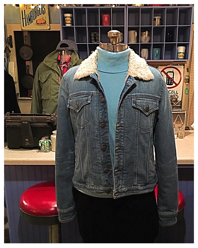Denim Sherpa Lined Jacket Size Large