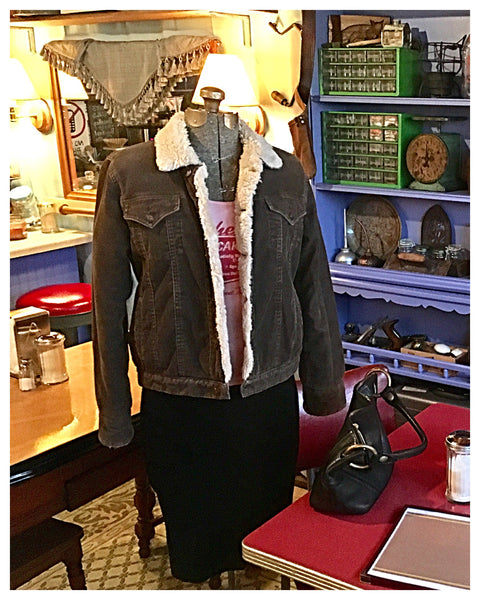 Brown Corduroy Sherpa Lined Jacket Size Medium