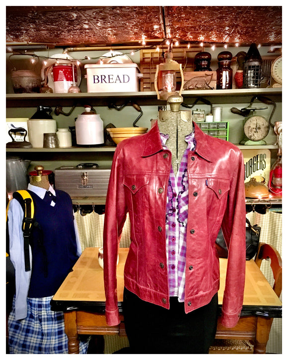 Burgundy Leather Jacket Size Small