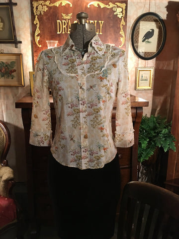Western Dragonfly Button Up Blouse Size Small