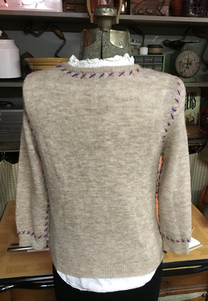 Beige Wool Cardigan Size Large