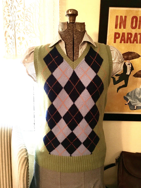 Green Argyle Sweater Vest Size Medium
