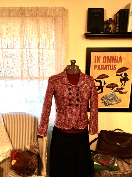 Tweed Dress Jacket Cranberry Size XS