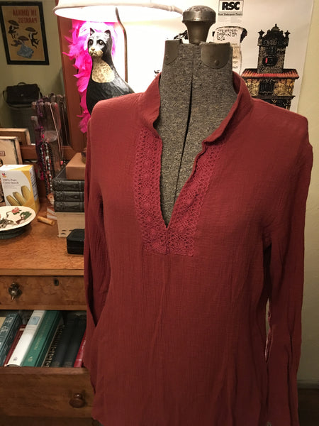 Umber Orange-Brown Peasant Blouse Size Medium