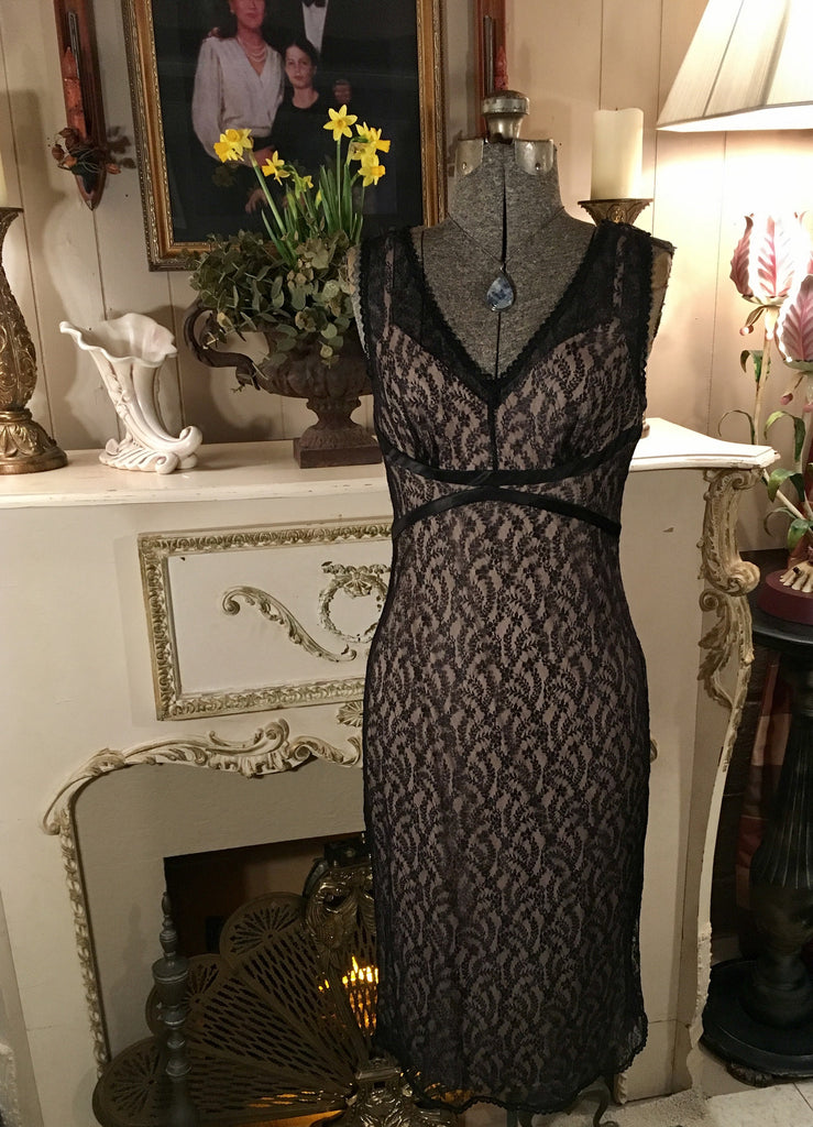 Black and Beige Lace Dress Size Medium
