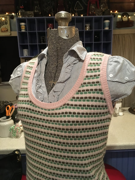 Pink and Green Sweater Vest Size Medium