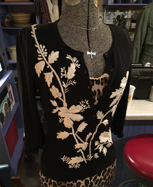 Black Floral Cardigan Size Small