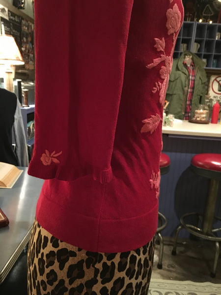 Red Floral Cardigan Size XS