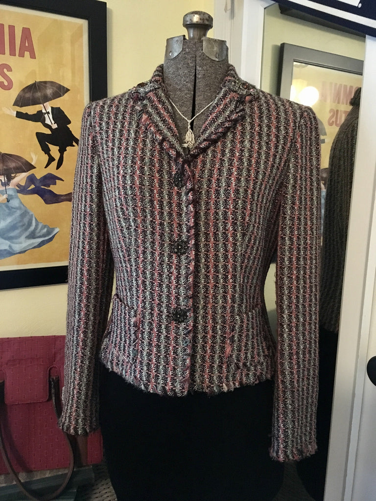 Pastel Woven Jeweled Dress Jacket Size Medium