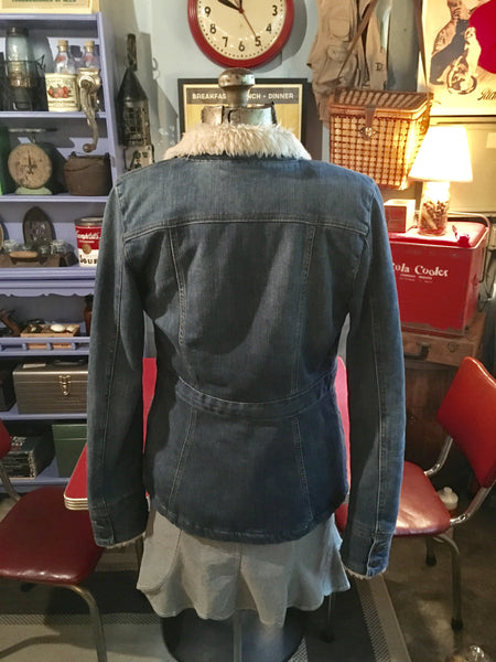 Long Denim Sherpa Jacket Coat Button Pocket Size Small