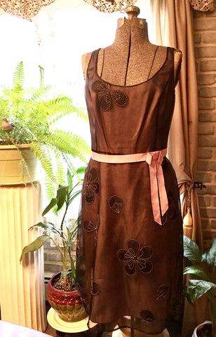 Brown & Pink Dress Size 10 Large