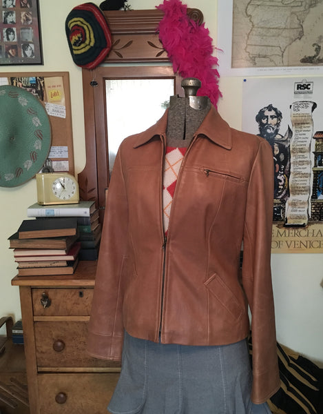 Tan Leather Jacket Size Medium / Large