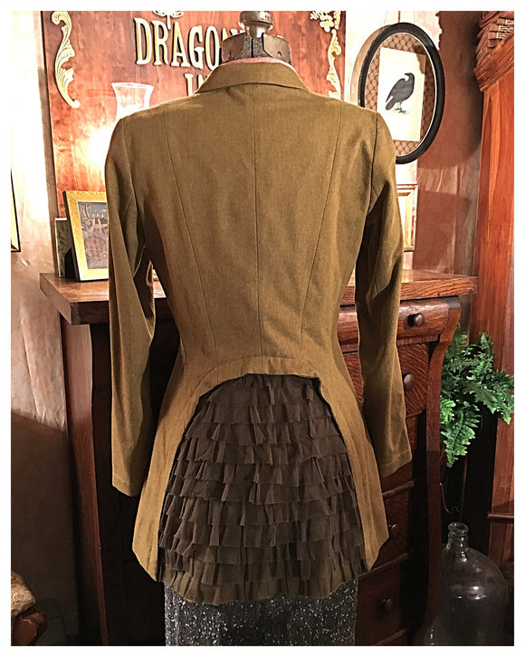 Green with Back Frill Dress Jacket Blazer Size Small Medium