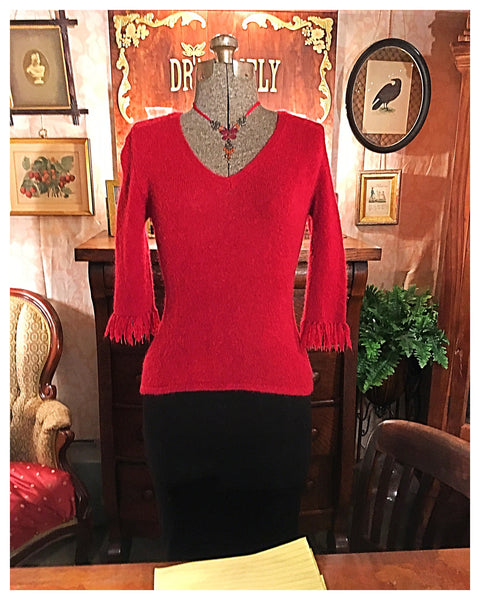 Fringe Sleeve Red Berry Sweater Size Small / Medium