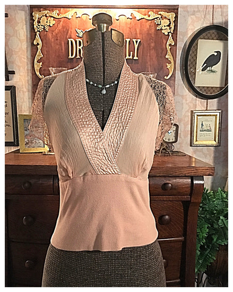Beige Silk Lace Blouse Size Small