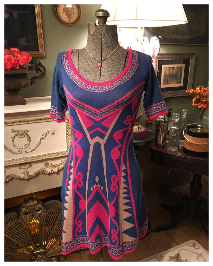 Pink and Blue Sweater Dress Size XS