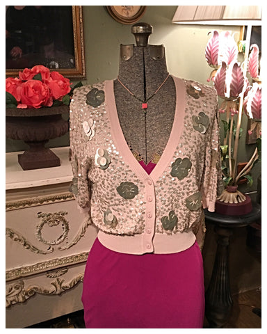 Sequined Blush Pink Crop Cardigan Medium