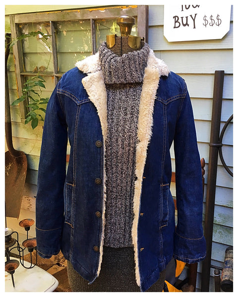 Long Denim Sherpa Lined Jacket Size XS Youth