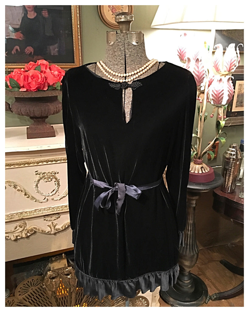Vintage Black Velvet Shirt Dress Size Large