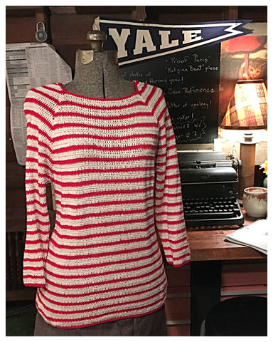 Red and white Strip Sweater Medium