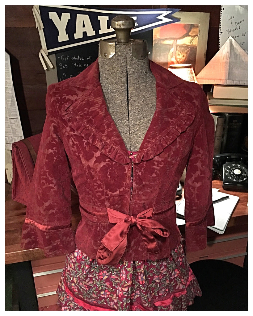 Burgundy Velvet Blazer Dress Jacket Small
