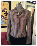 Pastel Woven Jeweled Dress Jacket Size Small